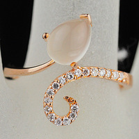 Female accessories natural crystal moonstone ring rose gold cat-eye neon drop