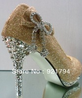 2013 new women's high-heeled shoes Gold dress shoes Bridesmaid shoes Rhinestone high heels free shipping