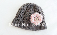 Vintage Crochet baby Hat, Beanie, baby girl hats with pink flower, for Sale,  photography, made to order10pcs/lot