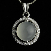 Female of natural crystal moonstone pendant cat-eye neon 925 pure silver the  for apple