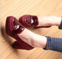 Fashion Leather Thick Heel Shoes For Women Height 6CM Free Shipping