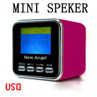 HOT SALE MUSIC ANGEL Mini Speaker For Micro SD/TF USB MP3 MP4 Ipod FM Radio LCD New Angel A08 20pcs/lot+Free shipping(China (Mainland))