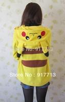 Japan Pokemon Pikachu Hoody Coat Jacket Ears Face Tail Zip Hoodie Hoody Warm Sweatshirt Costume ,Free Shipping & Good Quality