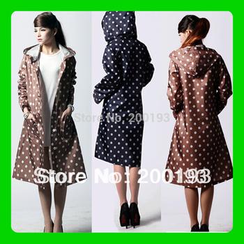 SMILE MARKET Free Shipping 1piece Fasion Women Raincoat with Round Dot Pattern( Dark Red,Dark Blue,Brown)