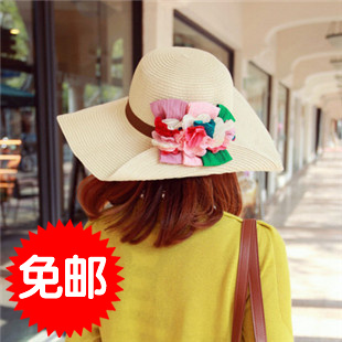 2013 strawhat large along the strawhat sunbonnet flower strawhat large brim hat roll up hem beach cap female strawhat(China (Mainland))