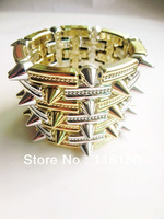 Rock Punk Gold Plated Spike Rivets Cuff Bracelets Bangles Silver Rectangle Stud charm Bracelet Wholesale Fashion Jewerlry