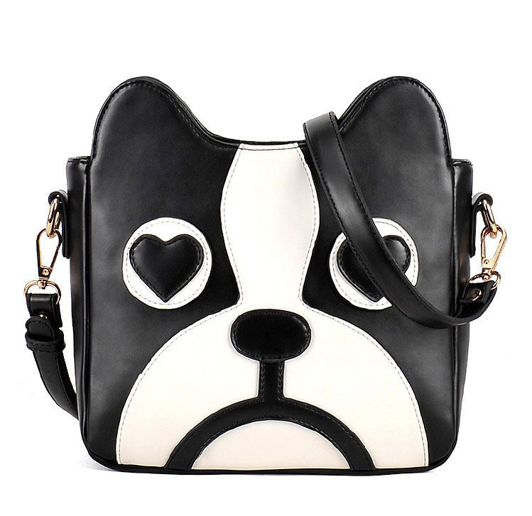 Fashion Cute Dog Cartoon Messenger Bag Female One Shoulder patchwork print Handbag Soft PU Free Shipping for most country(China (Mainland))