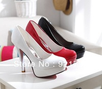 Fashion women's high heels  White patent leather nude shoes bride shoes  Classic wedding dress shoes  Free shipping