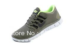 24 hours top quality 2013 Newest Men's free run 5.0+ v2 running shoes men athletic casual sports man boots sports color green(China (Mainland))