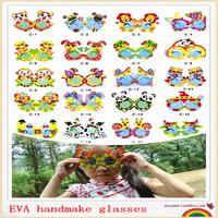 New Animal 3D EVA  Handmade Puzzles Fashion Sunglasses Toys, Magical DIY Children Hand Art  Sticker,Eva Puzzle Game Kids Gift