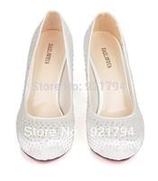 2013 new women's wedding shoes Fashion rhinestone bridal shoes  US  size :4 - 8 Free shipping