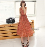 Free shipping 2013 Summer beach  wear new pleated South Korea long chiffon vest dress / dress beach dress for women