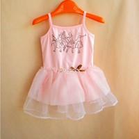 Nicole children's clothing skirt summer one-piece dress gauze female child suspender skirt puff skirt miniskirt