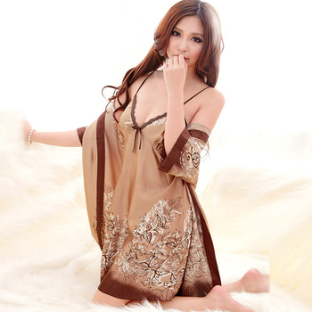 Core sexy sleep set female faux silk spaghetti strap nightgown twinset silk one piece sleepwear lounge
