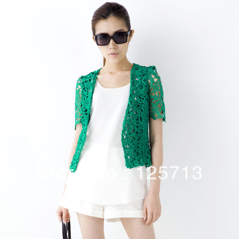 Free shipping 2013 spring and summer women's leisure suit tide chain link fence hollow Slim short paragraph small suit(China (Mainland))