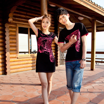 2013 summer lovers dress slim knitted one-piece dress female 100% o-neck cotton t-shirt male short-sleeve