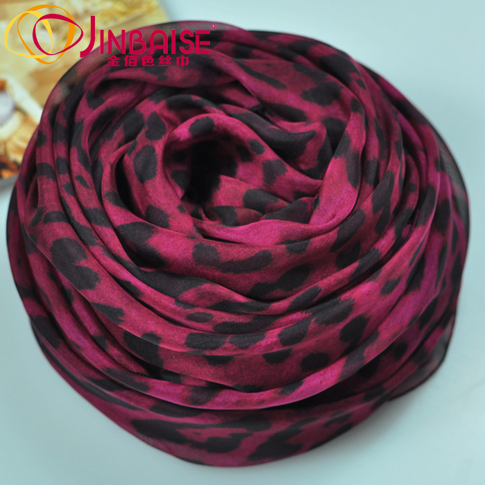 Autumn and winter mulberry silk long design silk scarf big silk scarf female cape rose leopard print decorative pattern(China (Mainland))