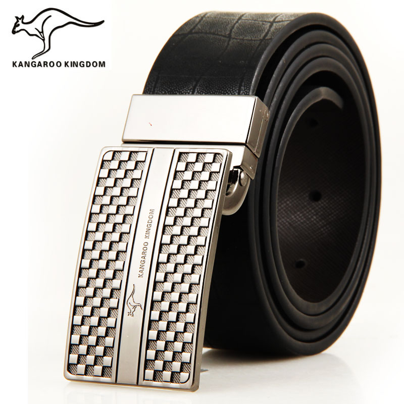 Phalanger strap male genuine leather strap fashion plate buckle smooth buckle belt men's(China (Mainland))