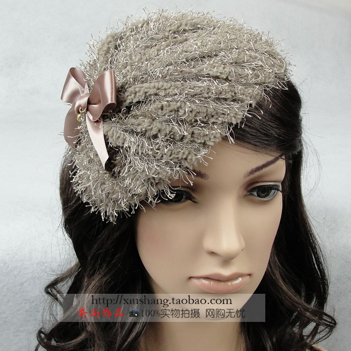 The appendtiff yarn headband bow hair bands beret winter plush thick headband hair accessory hair accessory(China (Mainland))