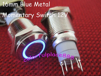 16mm Blue LED Switch Metal Car Fog LED Momentary N/O N/C Switch 12V DC NICKEL-PLATED BRASS Angle Eye Ring Circle