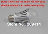 Wholesale freeshipping 7W led bulbs 36pcs 3020smd bulb e27 base aluminum body with pc cover 600lm 50pcs/lot