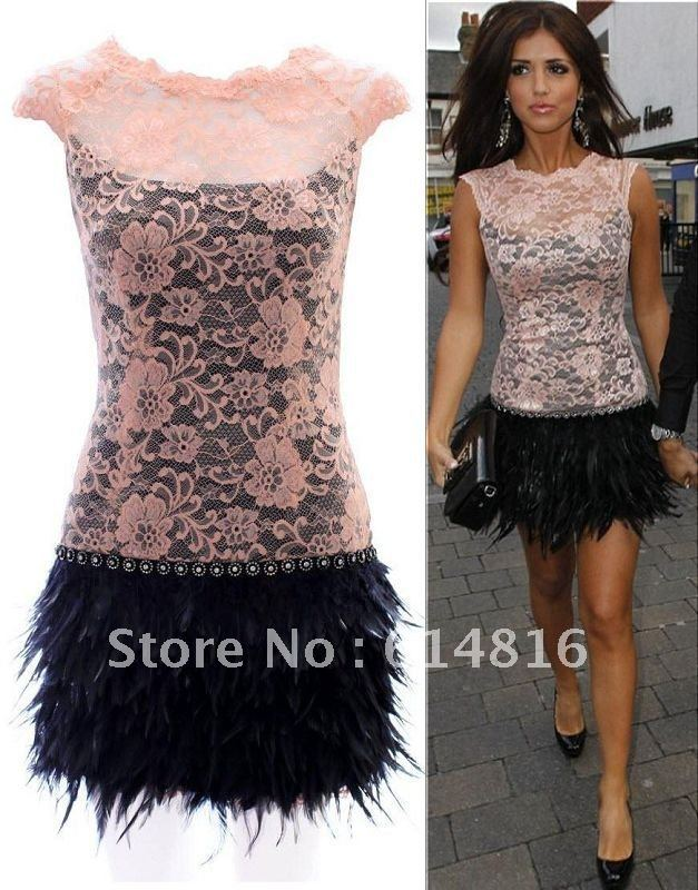 Sexy Real Sample Beige Lace Feather Short Mini Cocktail Dress EMA01(China (Mainland))