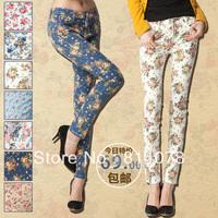 Hot!Hot!Hot SaleFree Shipping, 2013 American VIVI Style Fashion Vintage Flower Printing Denim Skinny Pencil Women Jeans female