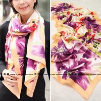 Spring women's print mulberry silk crepe satin silk scarf