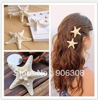 Free Shipping 2013 Popular Novelty New Starfish Bride Barrette Beach Wedding Surfer Hair Clip Fashion Hairclips