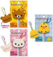 30PCS San-X Rilakkuma Bear;Sentimental Circus; Super Kawaii Rubber KEY Cover Chain Holder Rubber Key Pendant Hook; Key Cap Case