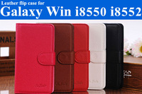 "1xScreen protector + ""Sulada"" brand Luxury credit card holder Leather flip cover case for Samsung Galaxy Win i8550 i8552"