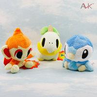 Drop Shipping 14cm 5.5inch Pokemon Turtwig,Wave garman,Chimchar Plush Stuffed Toys Dolls,3pccs/set