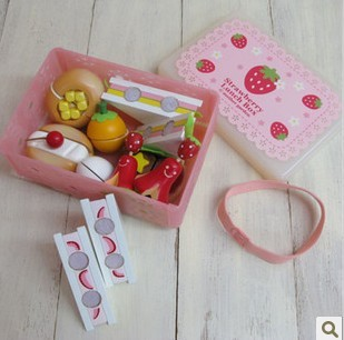 Free Shipping!Wooden Toys Baby Wild Strawberry Series Sandwich Set Classic Toys Children Play House Christmas gift for Children(China (Mainland))