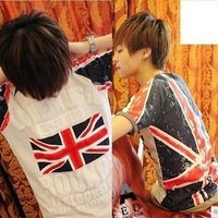British Union Jack T-shirt cotton men's  short-sleeve T-shirt free shipping
