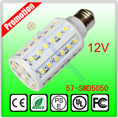 12V 10W E27 Screw Base 360 Degree LED Corn Lights 57 SMD5050 LEDS(China (Mainland))