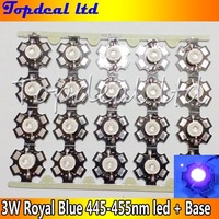2013 Top Royal Blue 3W LED 445-455nm  high Power 3W LED Chip Emitter With 20mm Star base 20pcs/lot