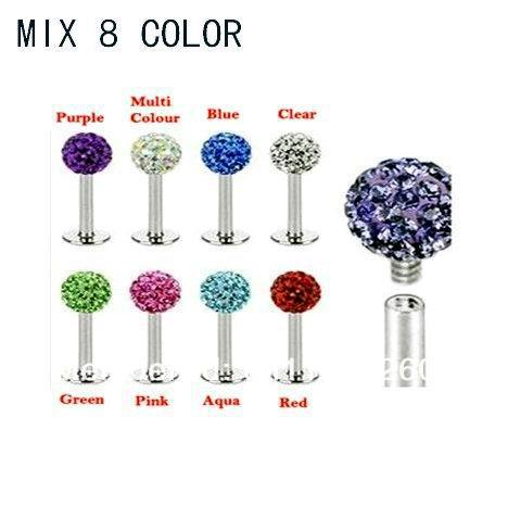Mix 8 Color 4MM Crystal Ball Internal Thread Labret Rings.80pcs/lot 316L Stainless Steel Lip Piercing jewelry.Ear studs(China (Mainland))