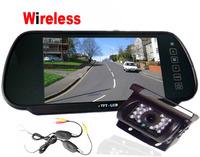 "18 IR LED CCD Wireless Reversing Camera + 7"" LCD tft Monitor Mirror Car Rear View Kit"
