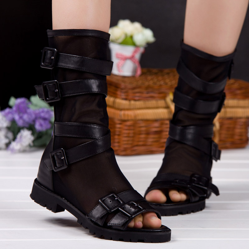 Elevator cool boots open toe shoe gauze first layer of cowhide female sandals flat heel cutout gladiator(China (Mainland))