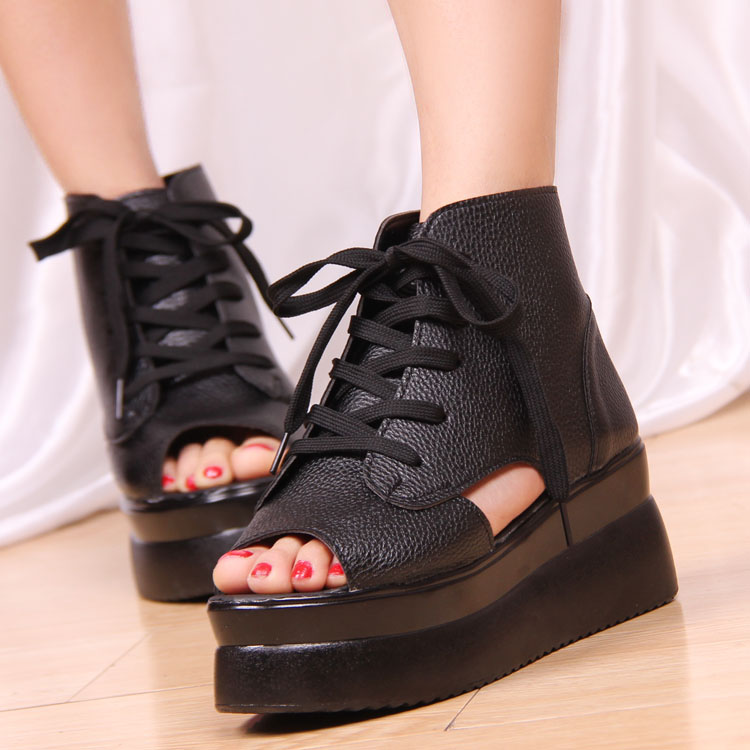 2013 fashion open toe shoe women's shoes wedges lacing cutout flat heel platform shoes platform sandals(China (Mainland))