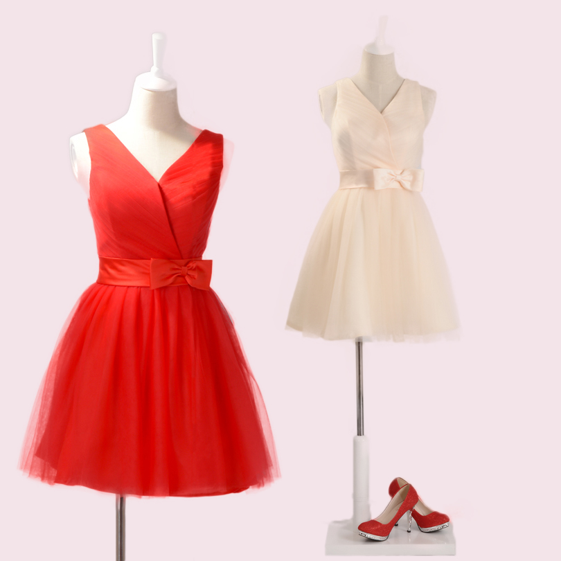 2013 bride and bridesmaids wedding red short design bridesmaid princess little sisters dress(China (Mainland))