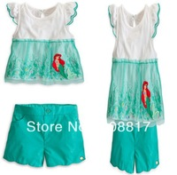 Free shipping 5set/lot children baby cute cartoon design clothing sets girls mermaid t-shirt+short pants 2pcs set girl suits