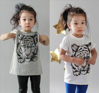 T-010,Retail!!2013 New Arrive summer children t-shirt fashion girl tiger print short sleeve tops cotton baby tees free shipping
