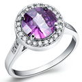 Wholesale 10Pcs/lot Fashion 18K white Gold plated lady's Wedding Amethyst Crystal CZ Stone Rings for women men  SIZE US8 J129