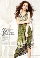 Female national bohemia trend print high waist double v-neck dress sleeveless beach full dress