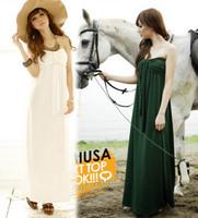 Solid color beach dress bohemia tube top one-piece racerback dress full dress evening dress