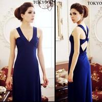 Bohemia spaghetti strap V-neck racerback dress sexy slim one-piece dress full dress formal dress female