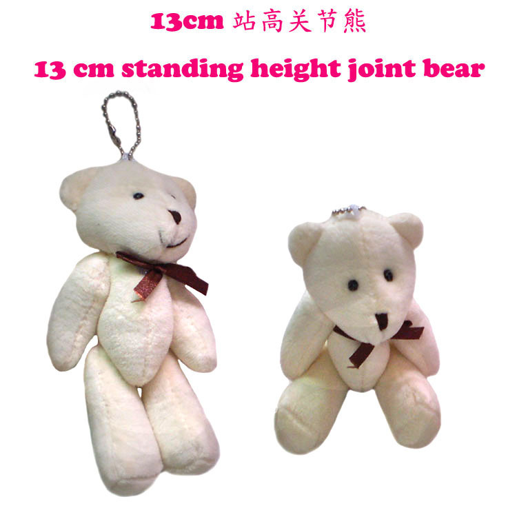 #Beige H=13cm 50pcs Cartoon Plush Tinny Bear/Tactic Bear Joint Bear With Bow Pendants Toys/Dolls For Key/Phone(China (Mainland))