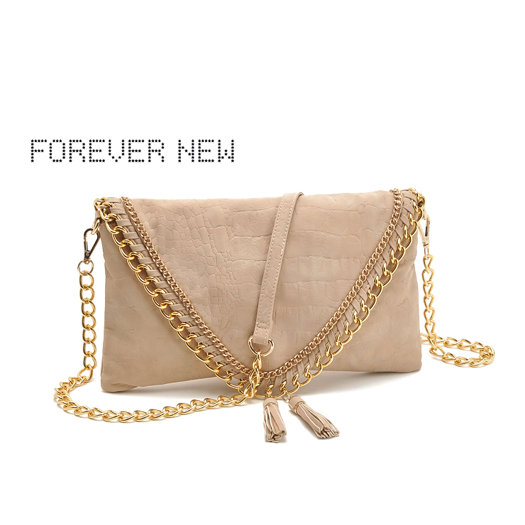Australia new forever elegant tassel beige nubuck leather envelope clutch bag messenger bag 450g(China (Mainland))