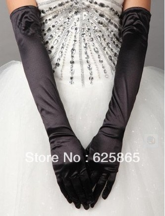 Black/white long stretch satin silk perform costume wedding gloves(China (Mainland))